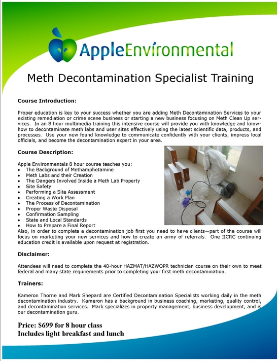Meth Decon Specialist Training Packet