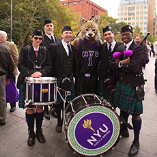 NYU bag pipes and Bob Cat