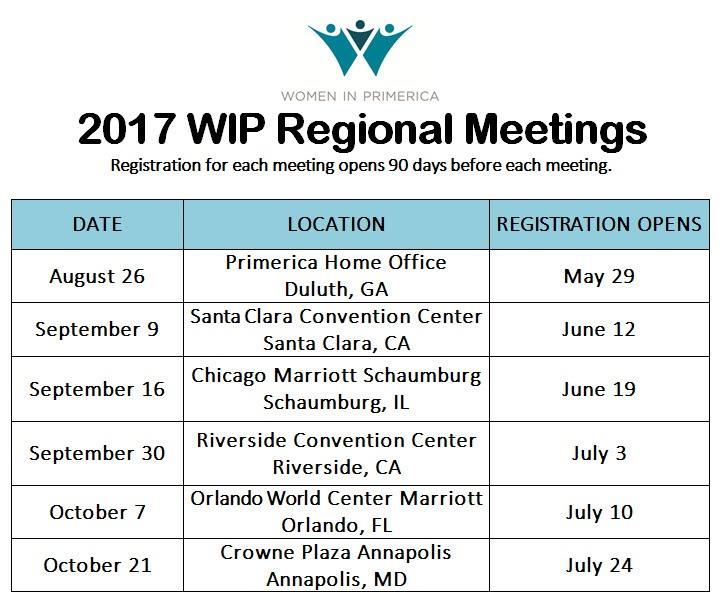 WIP reg mtgs schedule