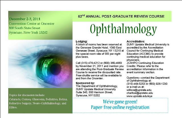 Department of Ophthalmology <br> SUNY Upstate Medical University <br> 62nd Annual Post-Graduate Review Course