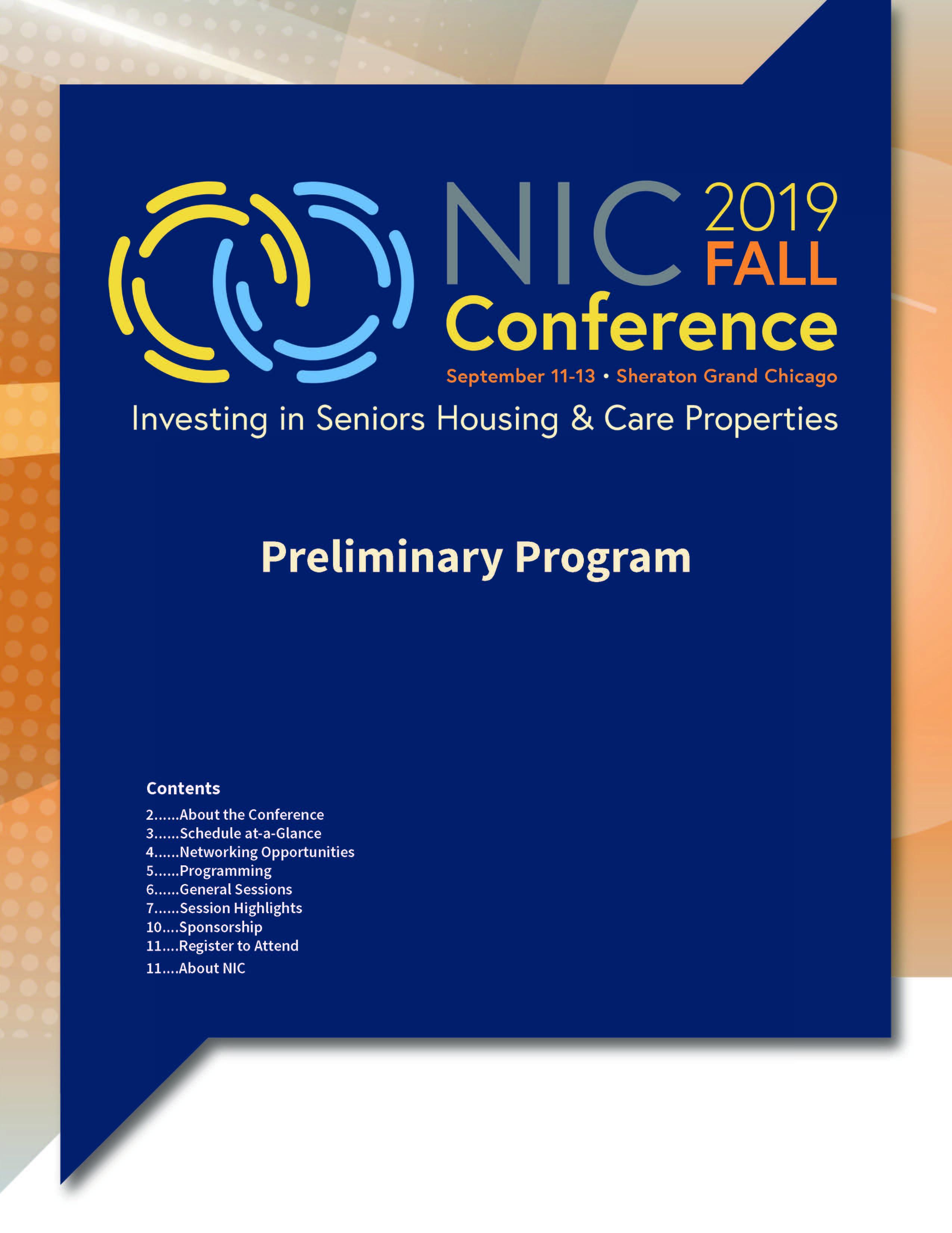 2019 NIC Fall Conference Preliminary Program Cover