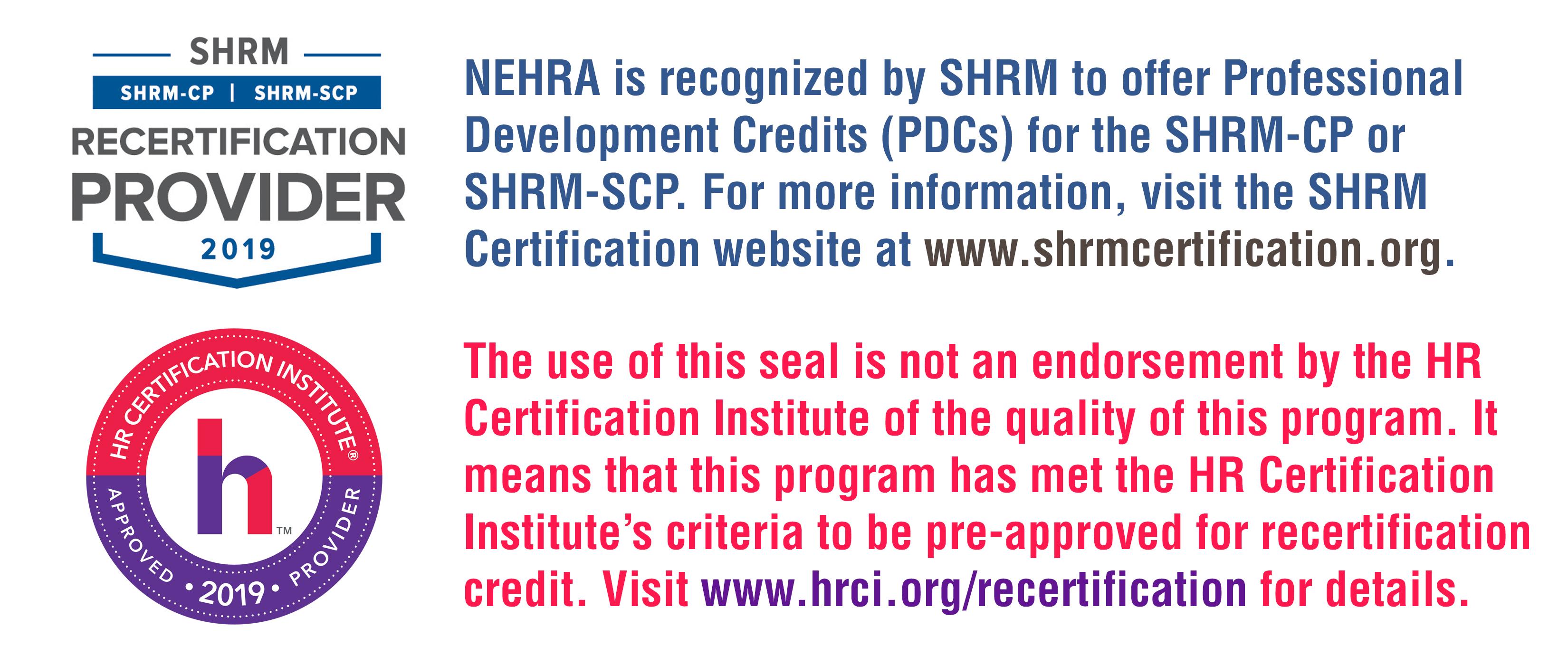 HRCI and SHRM Disclaimer 2019