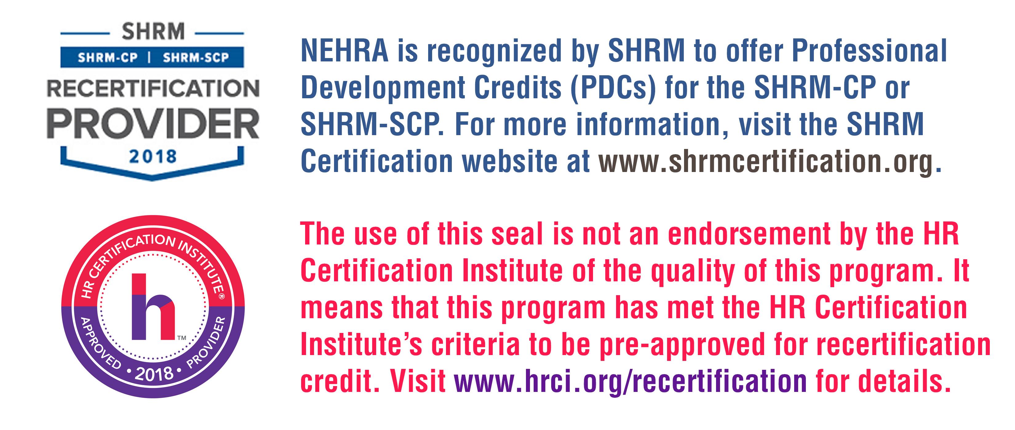 HRCI and SHRM Disclaimer