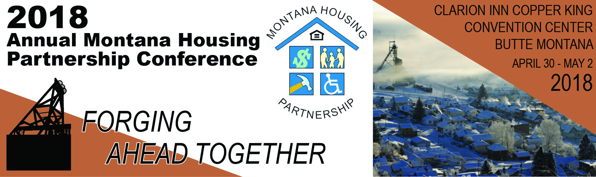 The 2018 Housing Conference Banner shows the Logo which is a Headframe, and the conference theme, FO
