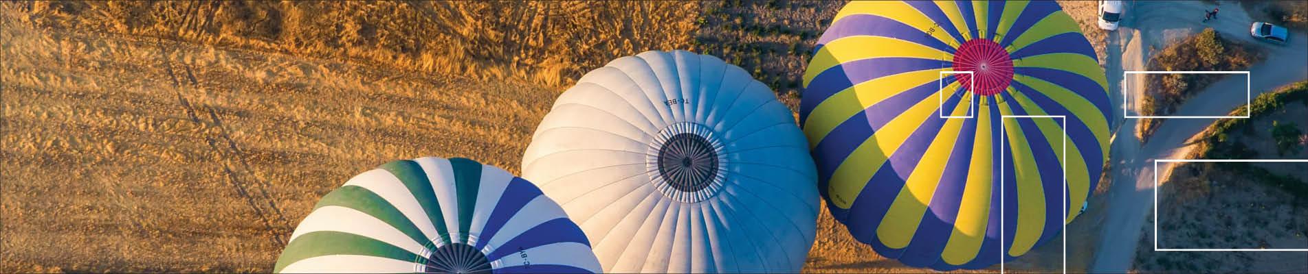 balloons soaring over landscape