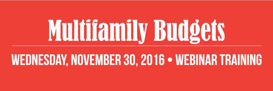 Multifamily Budgets Webinar