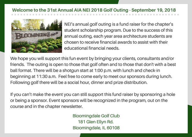 Welcome to the 31st Annual AIA NEI 2018 Golf Outin