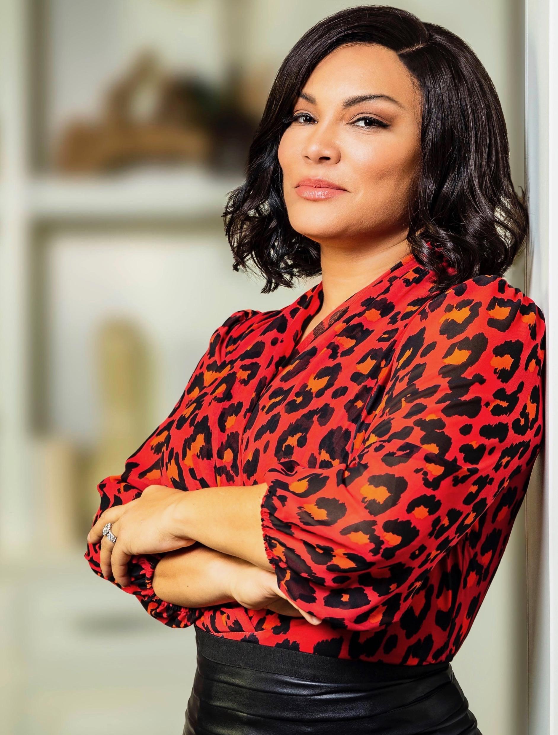 Egypt Sherrod red blouse closeup.JPG