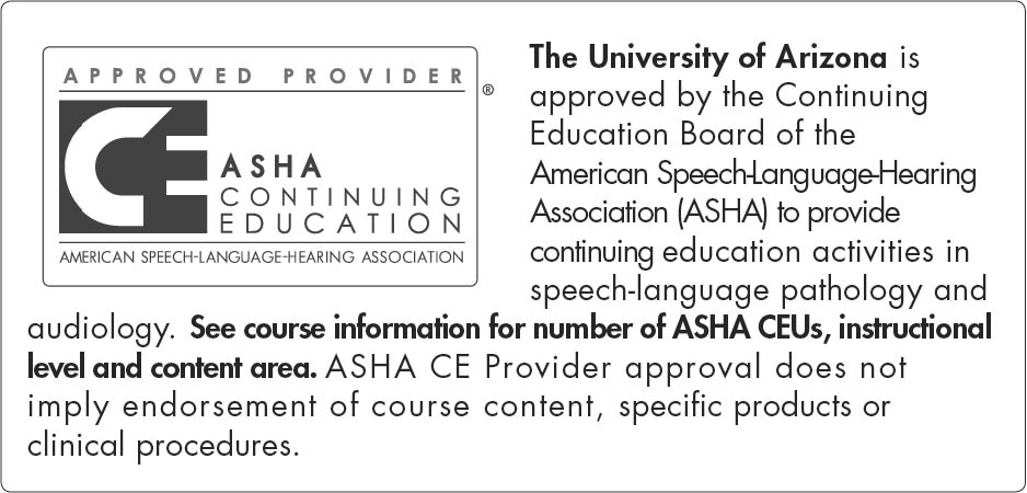 ASHA CEU LOGO The University of Arizona short2009