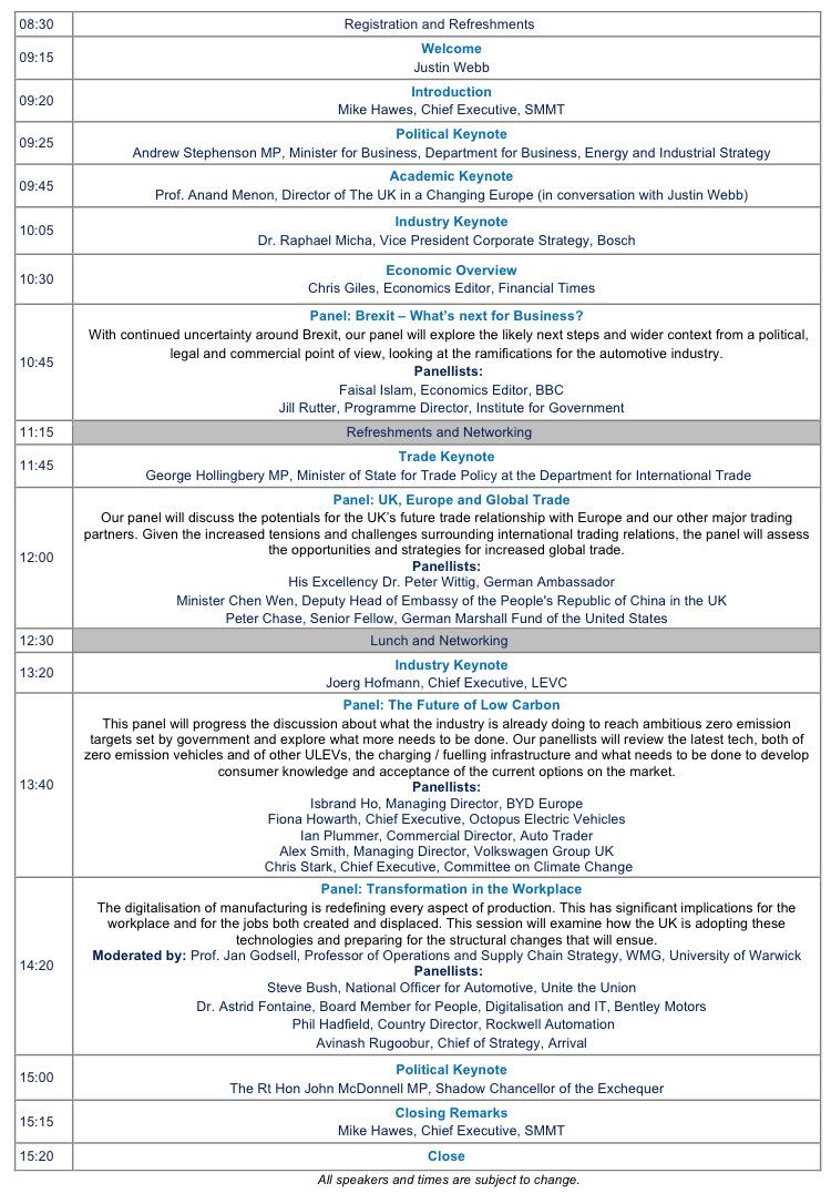 SMMT Inernational Automotive Summit Agenda V23