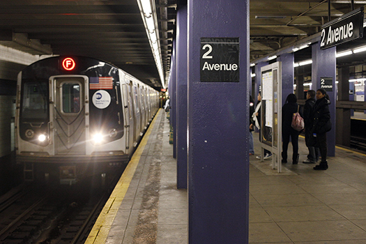 Photo of NYC's F train at 2nd Ave Station (By Joe Buglewicz/NYC & Company)