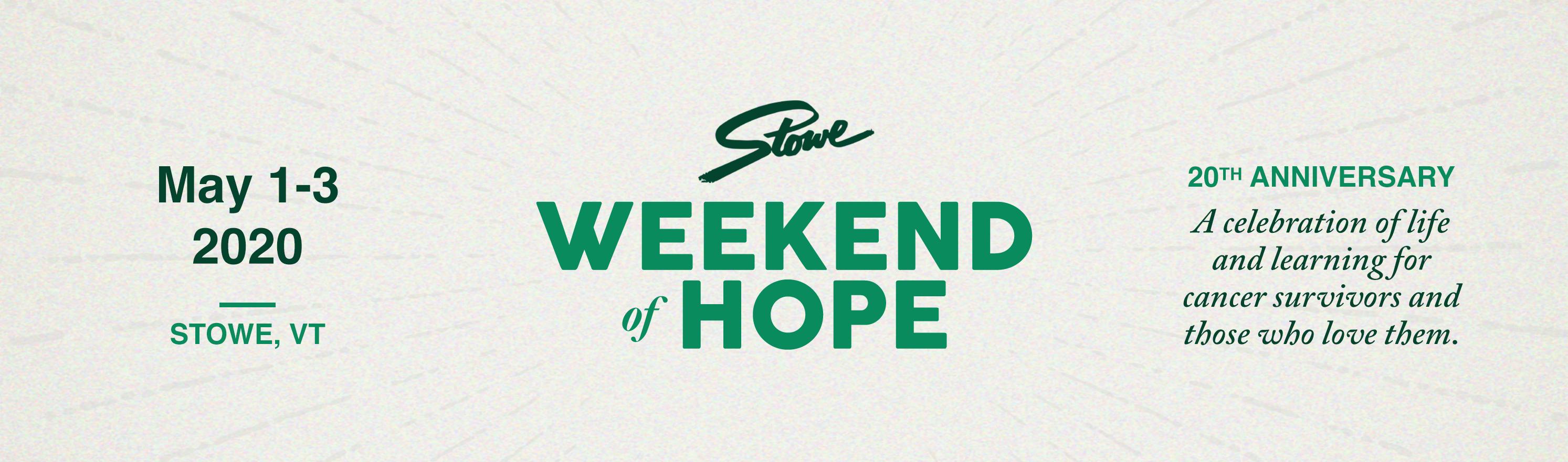 Stowe Weekend of Hope 2020 ~ Sponsors & Health Fair Exhibitors