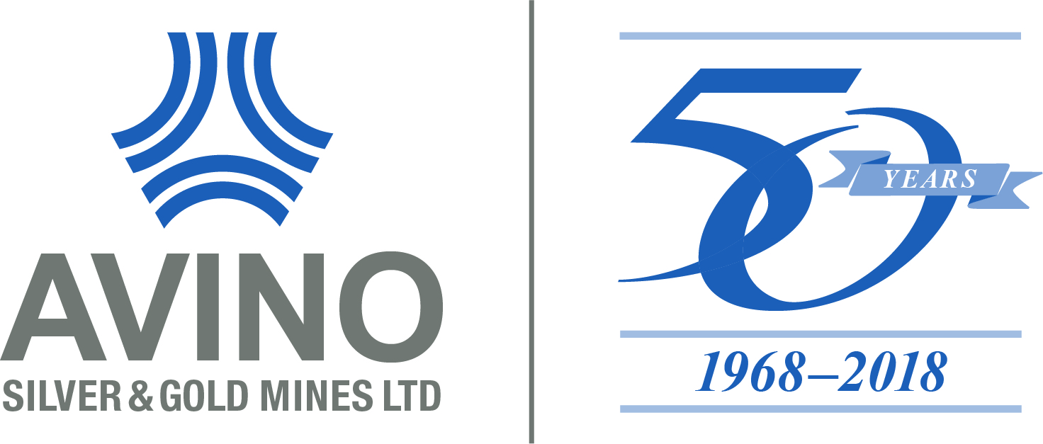 Avino CMYK logo (blue grey) 50th Horizontal lockup