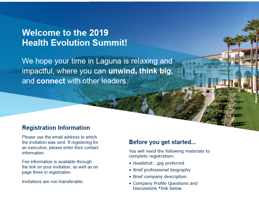 Welcome to the 2019 Health Evolution Summit