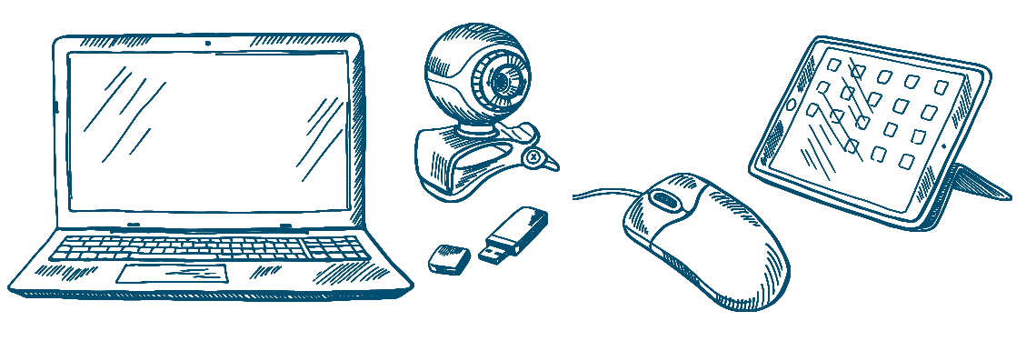 Vintage drawings of a computer, a pendrive, a camera, a mouse and a tablet.