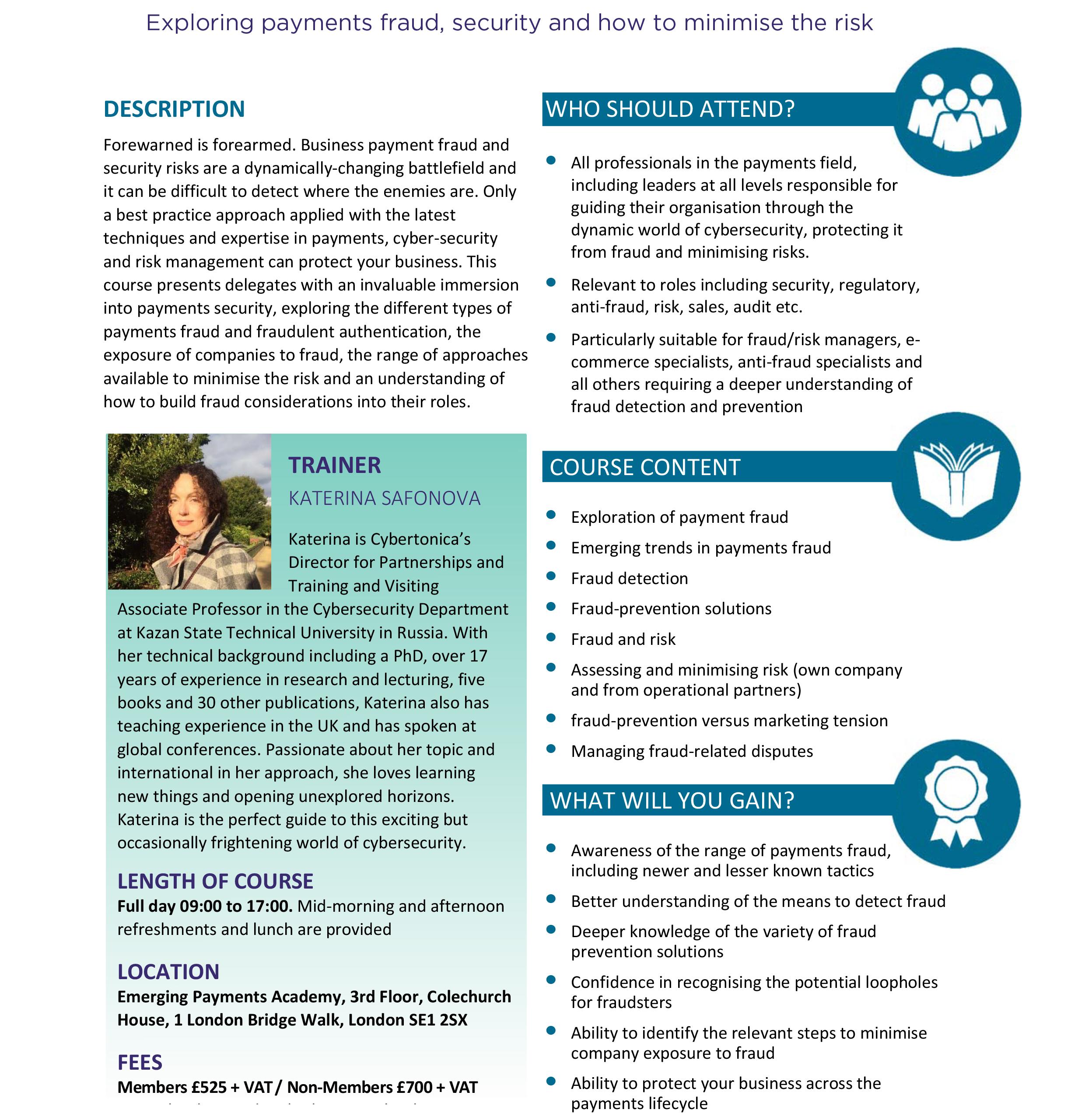 Payment fraud prevention & management, course description V3