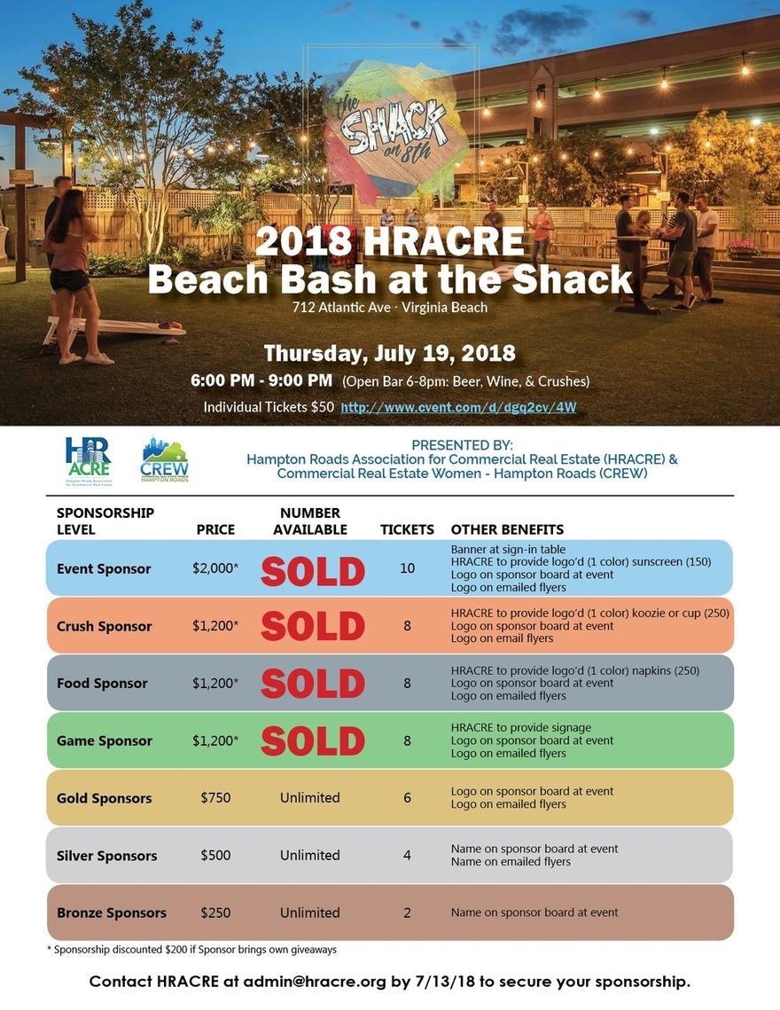 HRACRE Beach Bash Sponsorship Flyer July 12 Cvent