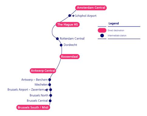 Map of Antwerp train