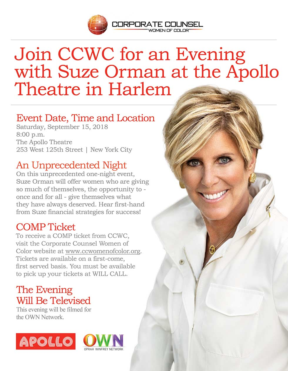 Evening with Suze Orman at the Apollo