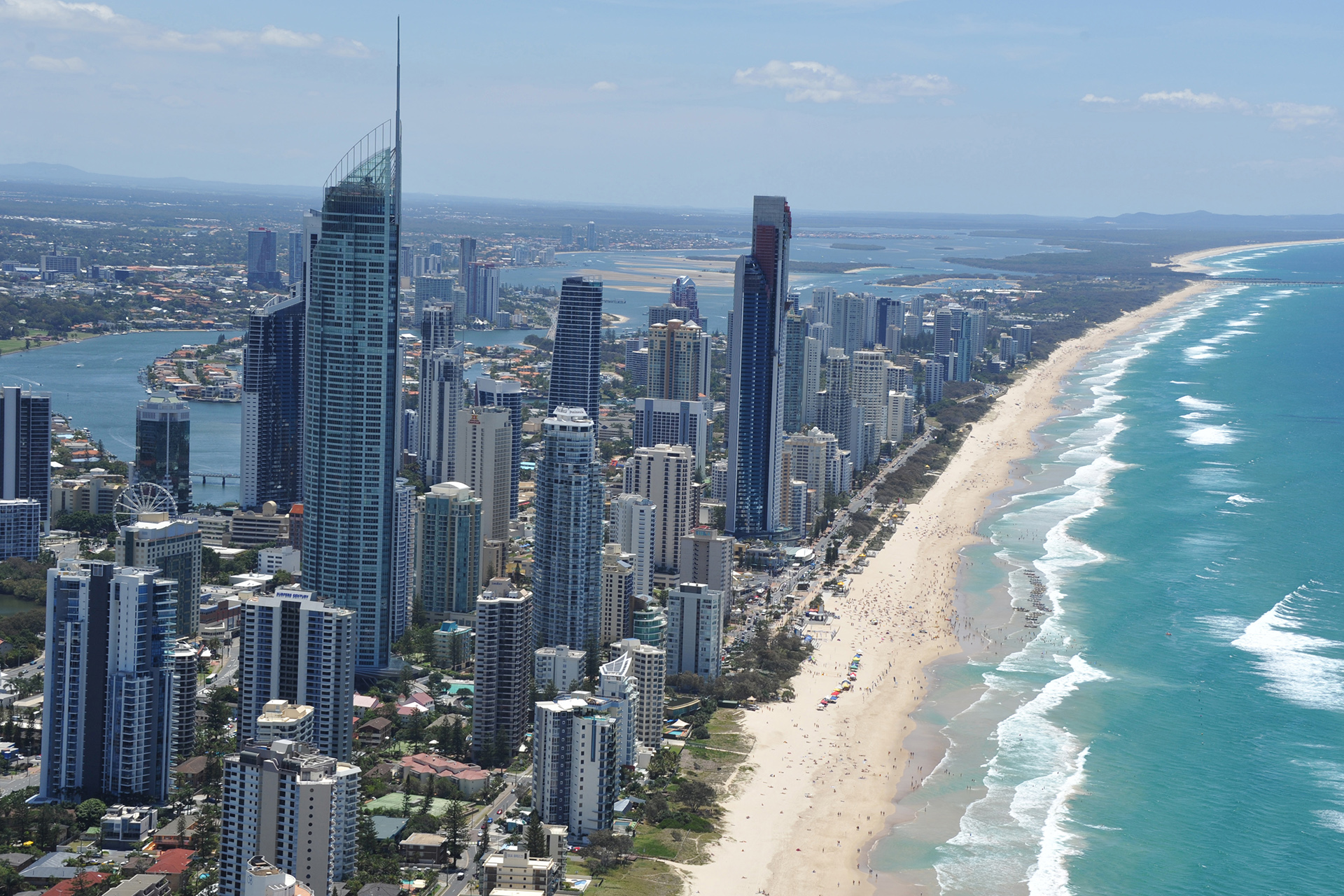 Aerial of Q1 and Surfers Paradise Precinct with People Beach_screen