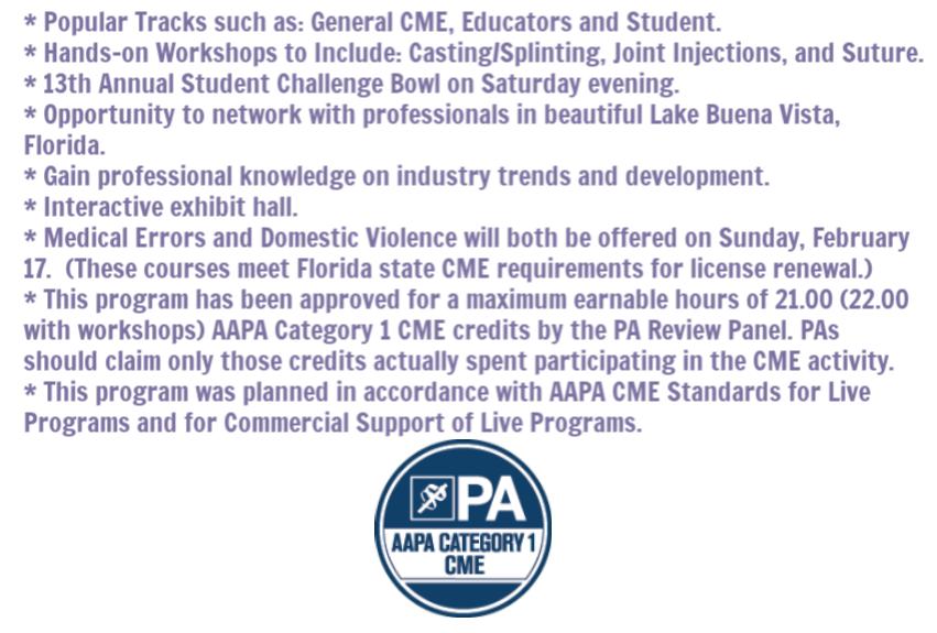 UPDATED FAPA 2019 Winter Program Highlights