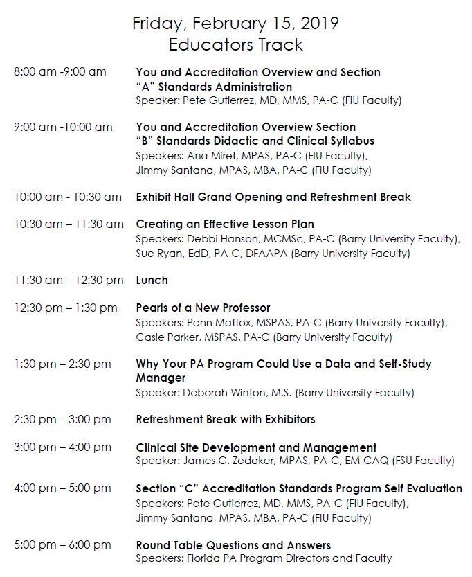 Updated Educators Track Agenda