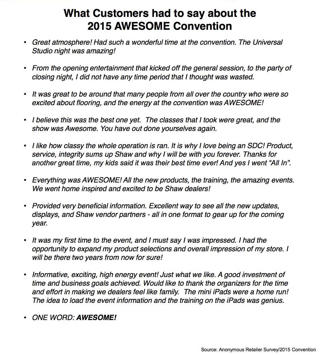 1Awesome 2015 Convention Customer Quotes on letter