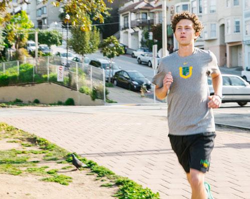 Student running
