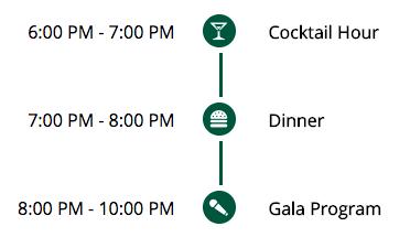 Agenda: 6-7pm Cocktail Hour; 7-8pm Dinner; 8-10pm Gala Program