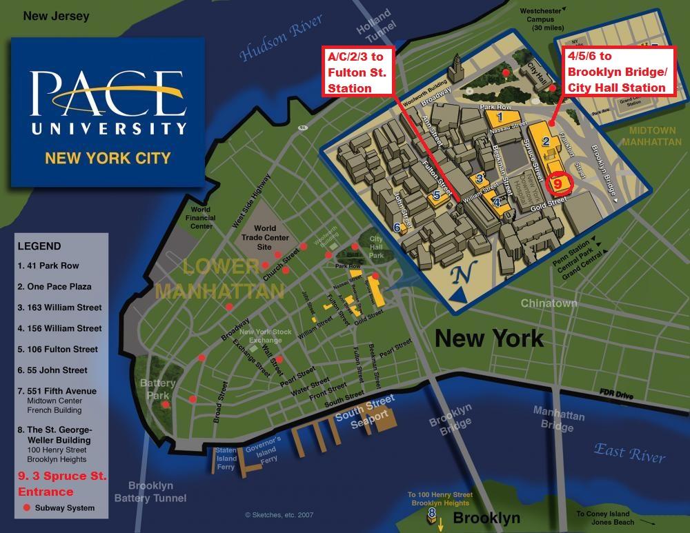 Pace Univ NYC Map