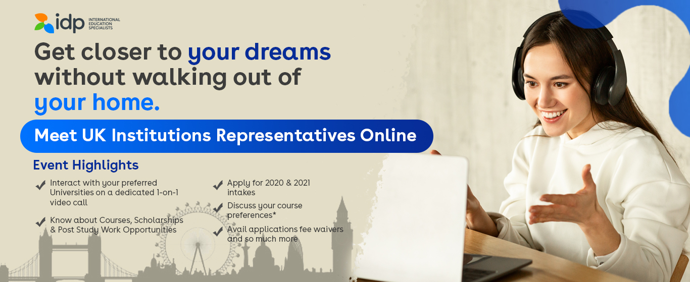 Attend UK Education Virtual Event - 16th October / 11:00am - 4:00pm / IDP Colombo