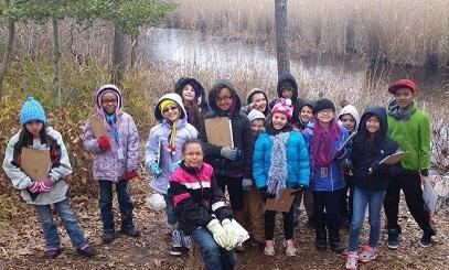 Arbutus ES exploring wetlands