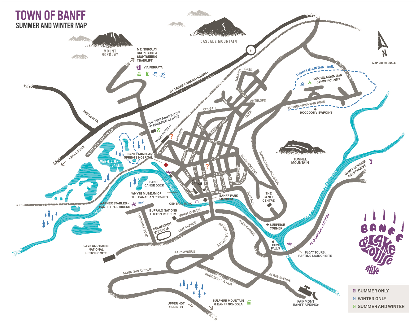 Map of Banff and Lake Louise