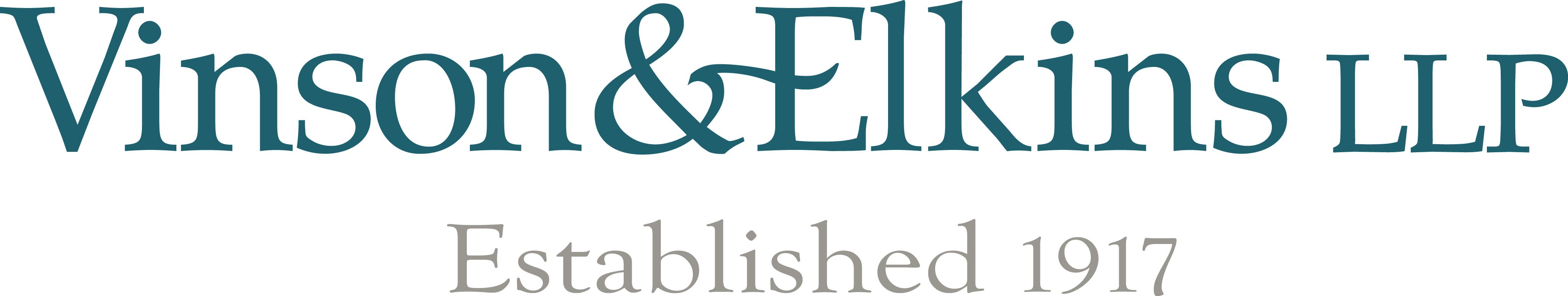 Vinson & Elkins LLP 100 Yr Logo_Blue&Grey_F